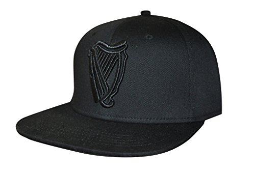 Guinness Harp Logo Baseball Cap - Black Cotton Embroidered Flat Brim (Beer Black Cap)