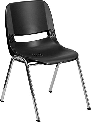HERCULES Series 440 lb. Capacity Ergonomic Shell Stack Chair with 12'' Seat Height Black Shell with Chrome Frame