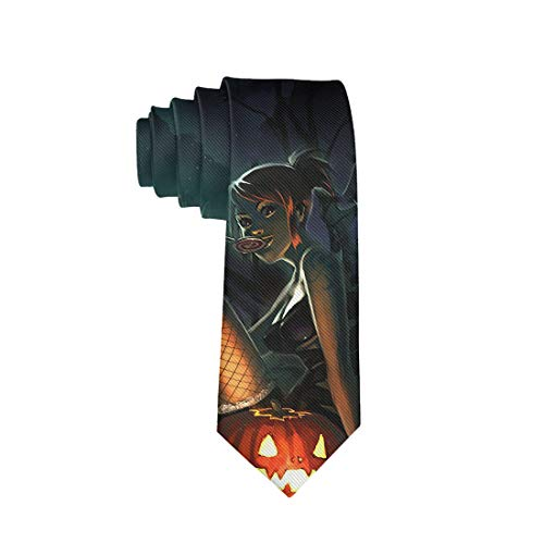 Halloween Polyester Neckties, Formal Slim Halloween Pumpkin Necktie, Men & Boys Slim Suit Outfit Ties, Elegant and Smooth for Bridegroom, Wedding Party Decoration Gift Ties