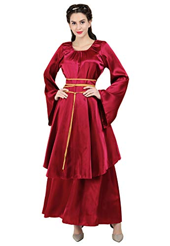 Zhitunemi Women's Halloween Cosplay Costume Renaissance Medieval Irish Over Lolita Dress Victorian Retro Gown Role Wine Red-S
