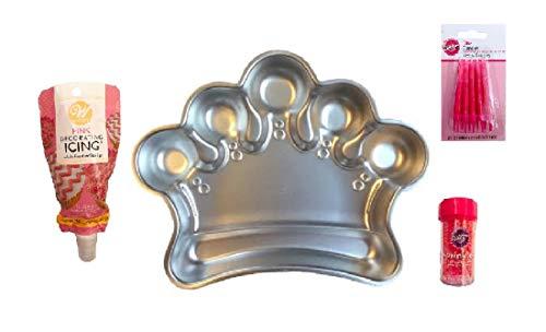 Princess Tiara Cake Pan Pink Icing Sprinkles and Candles Decorating Kit ()