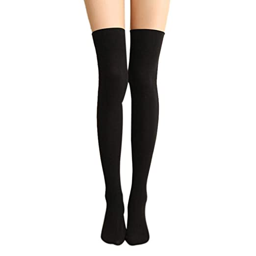 BCDshop Womens Thigh High Socks Over the Knee High Leg Wamers Long Boots Socks (Black