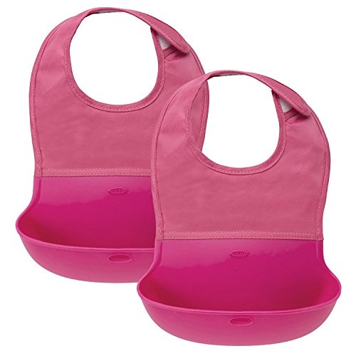 OXO Tot Roll Up Bib, 2 Pack (Pink)