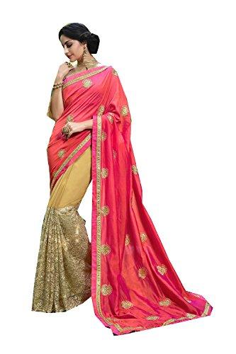 Da Facioun Indian Sarees For Women Wedding Designer Party Wear Traditional Peach & Beige Saree. by Da Facioun