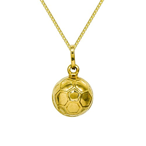 14K Yellow Gold Soccer Ball Pendant Necklace (16 Inches, Box Chain) 14k Yellow Gold Soccer Ball