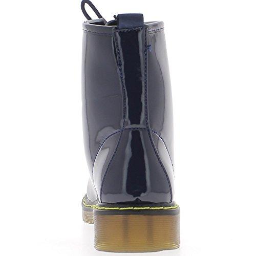 Aumento de botas mujer azul rayada barnizado cordones de tacón 3cm