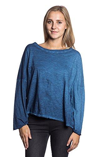 Abbino 5689 Langarmshirts Básica con Cuello Redondo para Mujeres - Hecho en ITALIA - Colores Variados - Entretiempo Primavera Verano Otoño Femenino Delicado Elegante Manga Larga Rebajas Moda Azul (Art. 5846)