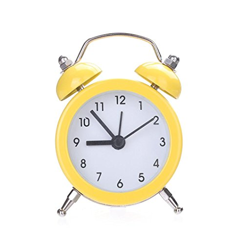 - BB67 Metal Alarm Clock Twin Bell Silent Alloy Stainless Table Clock (Yellow)