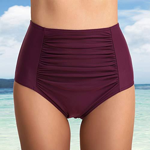 gut Wenyujh' Damen Bikini Hose High Waist Bauchweg Bikini-Hose Hohe Taile Einfarbig Falten Hohe Elastizität Atmungsaktiv Violett bbtQhBs2