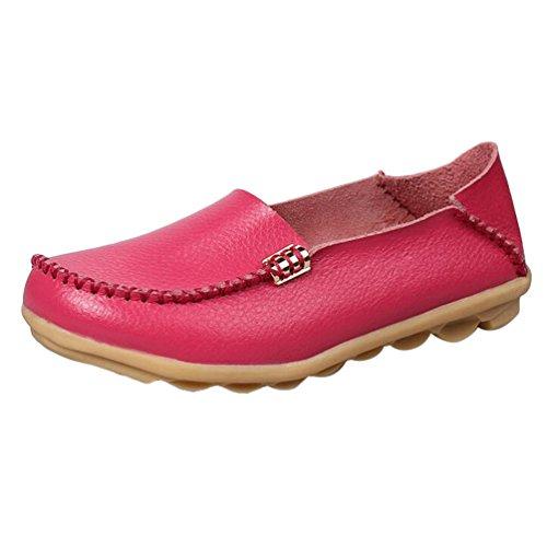 Heheja Mujer Mocasines Ocio Piso Zapatos Comodidad Zapatos de Conducción Melocotón