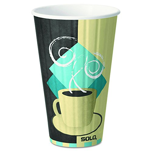 Solo Duo (Dart IC16J7534PK Duo Shield Insulated Paper Hot Cups, 16oz, Tuscan, Chocolate/Blue/Beige, Pack of 35)