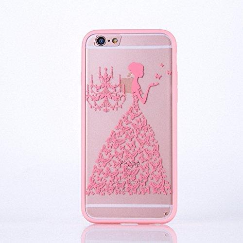 König Boutique Housse étui Mandala Bumper pour Apple iPhone 6S Plus Design Case coque Motif papillon femme Cover Housse en silicone rose