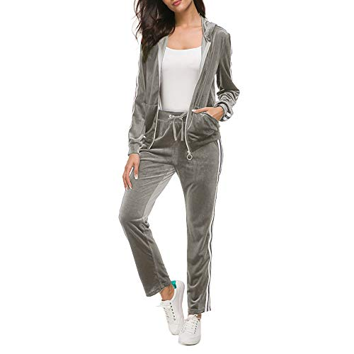 (Fantasy Closet Women's Solid Tracksuit Set, Zip Up Hoodie Long Sleeves Waist Pockets(Grey,Size 3XL))