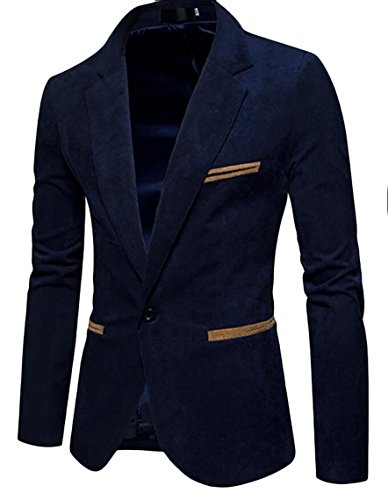 Jacket Turn Corduroy Color Mens Gocgt Down Navy Sleeved Blue Slim Suit Solid Long a5vq4wT