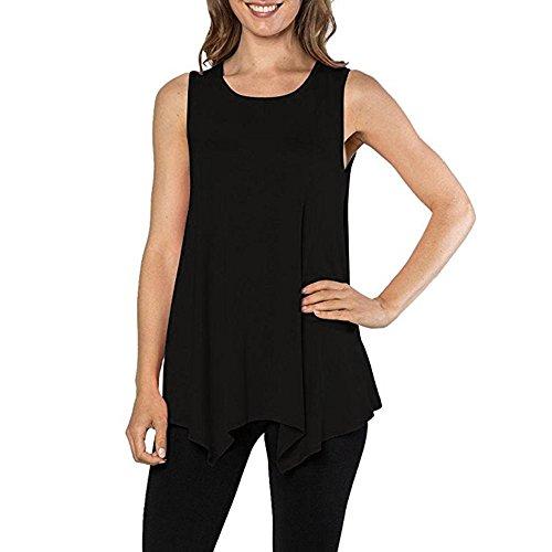 Black Humor Ringer - Hot Sale!Farjing Womens O-Neck Tunic Tank Top T-Shirt Loose Basic Sleeveless Tee Shirt Blouse(M,Black)
