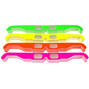 25 Pairs of Paper Diffraction Glasses, 3D Fireworks glasses, starburst glasses. Great for holiday lights, raves, and concerts. Made in the USA (Assorted Neon, 25 Pairs)