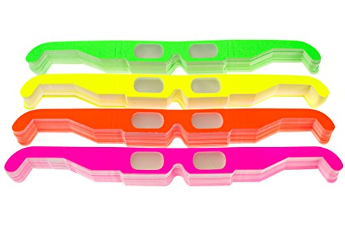 25 Pairs of Paper Diffraction Glasses, 3D Fireworks glasses, starburst glasses. Great for holiday lights, raves, and concerts. Made in the USA (Assorted Neon, 25 - 3d Sunglasses Glasses