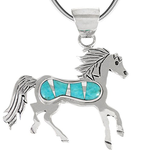 Horse Necklace Sterling Silver & Genuine Turquoise Pendant with 20