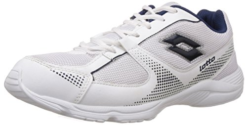 Lotto Men's Pounce White and Navy Mesh Running Shoes - 8 UK