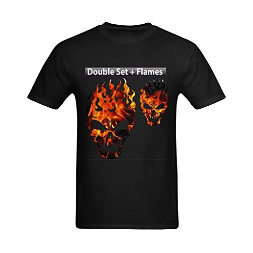 Price comparison product image Youranli Men's Air Brush Stencil Skull Flame Head Double Set Lames Outlines Funny Games Teeshirts 2XL