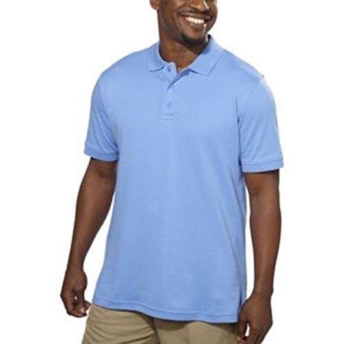 en's 100% Egyptian Cotton Short Sleeve Polo Shirt, Blue, XL ()