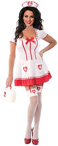 [Forum Novelties Women's Naughty Nurse Costume, White/Red, Medium/Large] (Naughty Nurse Halloween)
