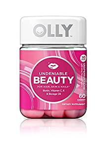 OLLY Undeniable Beauty Gummy Supplements, Grapefruit Glam, 60 Count
