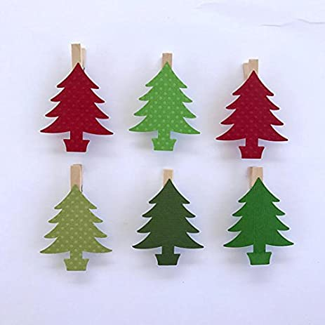 christmas tree clothespins decoration kit paper cutouts holiday party favors gift tag party clips card holder
