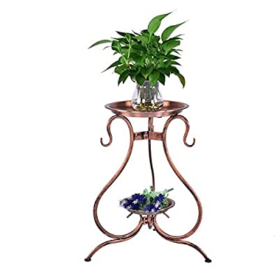 Classic Tall Plant Stand Art Flower Pot Holder Rack Planter Supports Garden & Home Decorative Pots Containers Stand (Bronze) : Garden & Outdoor