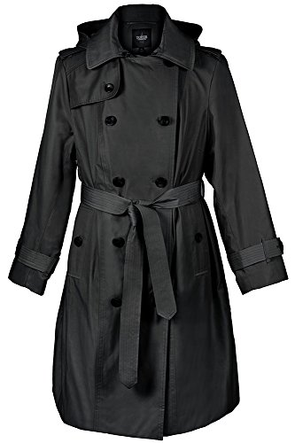 Double Fog Coat London Breasted (London Fog Missy Double-Breasted Trench Coat, Raincoat, Black, 2XL)
