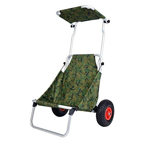 Gwclk Shopping cart Outdoor Shopping Bags Outdoor Fishing Cart with Seat Shade Folding Portable Shopping Trolley Rubber Inflatable Wheel Photography Camping Chair Stool Max Load 100kg