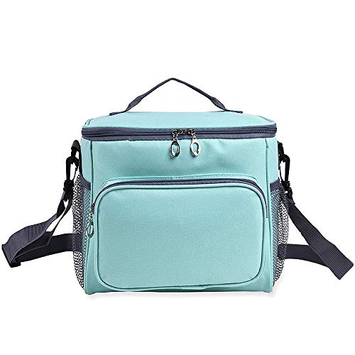JTX Insulated Lunch Bag Thermal Cooler Lunch Bag Picnic Tote Lunch Box with Adjustable Shoulder Strap Leakproof Linear and Double-sewn Nylon Large Mesh Side Pockets for Adult and Kids Office/School