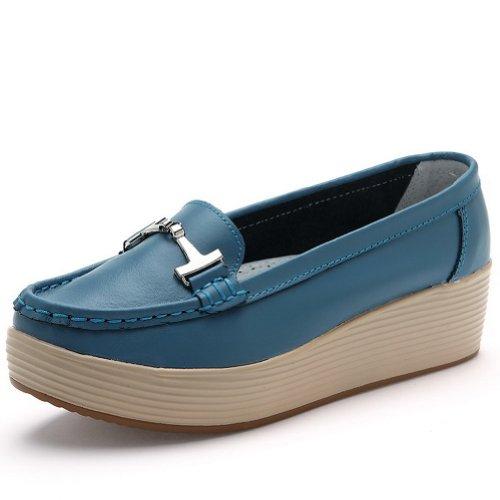 Amoonyfashion Donna Punta Rotonda Tacco Gattino Pelle Di Mucca Materiale Morbido Derma Pompe Solide Blu