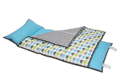 Bacati Elephants Nap Mat Bedding Set, Aqua/Lime/Grey by Bacati