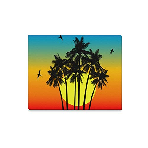 ENEVOTX Wall Art Painting Plam Tree Tropical Island at Sunset Prints On Canvas The Picture Landscape Pictures Oil for Home Modern Decoration Print Decor for Living Room