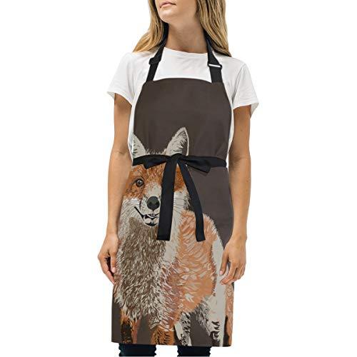 GOEPULY - Delantal Ajustable para Mujer, diseño de Zorro, Ideal para Pintar, Eventos, Fiestas, barbacoas, cocinar, Hornear y...