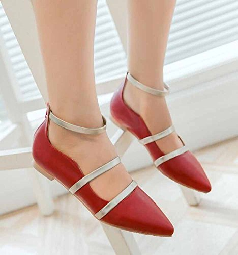 SHOWHOW Womens Trendy Solid Pointed Toe Ankle Strap Zipper Low Heel Work Flats Shoes Red y2I2n