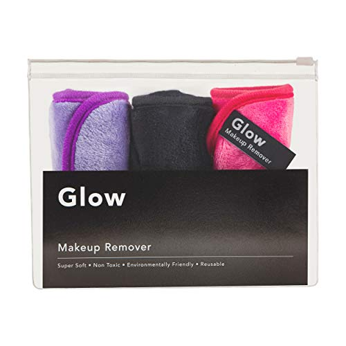 Luxury Makeup Remover Cloth (Multi-Colored 3 Pack) | Glow Makeup Remover Wipes Off Makeup Like an Eraser with Just Water | Super Soft and Reusable | Chemical Free | Perfect for All Skin Types