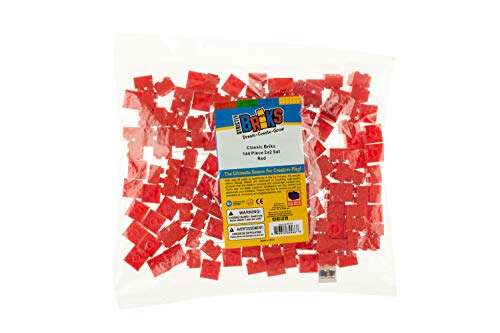 Strictly Briks Classic Bricks 144 Piece 2x2 Red Building Brick Creative Play Set - 100% Compatible with All Major Brick Brands