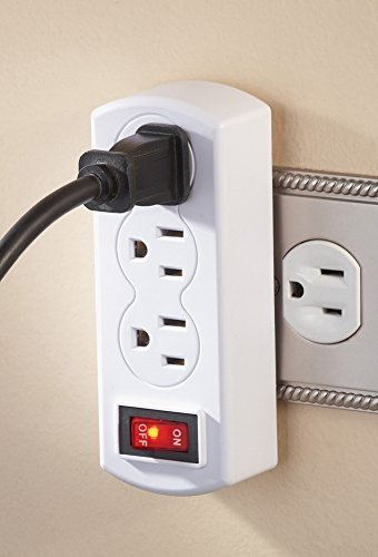 Triple Plug Outlet Adapter with On/Off Switch (White Duplex Adapter)