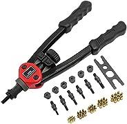 Alexsix Conjunto de ferramentas de rebite fácil automático resistente com cabo flexível e conjunto de porcas d