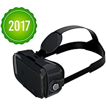 Owl BOBOVR Z4 WITHOUT HEADPHONES and WITH HEADSTRAP Google Cardboard VR Headset for smartphones up to 6 inches iPhone, Samsung Galaxy (Black)