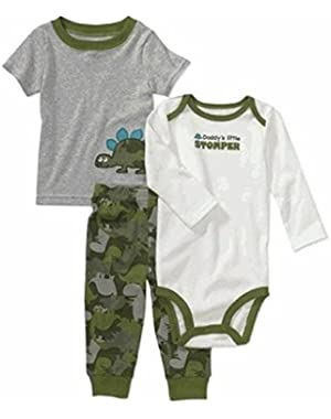 Child of Mine By Carter's Little Boys' 3-Piece Dino Tee, Creeper and Pants Set