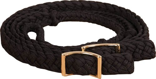 Southwestern Equine New Braided Barrel Racing Reins - Flat w/easy Grip Knots 8ft (Black)