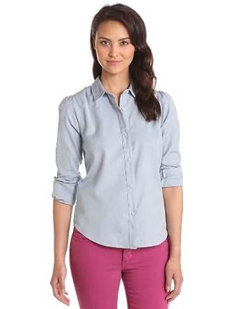 Joe's Jeans Women's Dandy Woven Top Twill Button Down Shirt, Powder Blue, X-Small