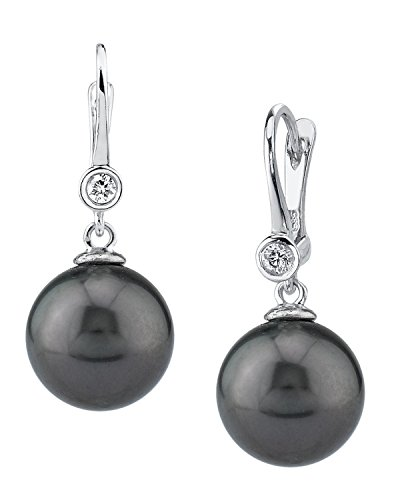 THE PEARL SOURCE 14K Gold 12-13mm Round Genuine Black Tahitian South Sea Cultured Pearl & Diamond Michelle Earrings Set for Women - Diamonds 13mm Tahitian Pearl Ring