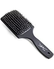 Boar Bristle Brush by The Hair Shop, Black Hair Brush Made w/ Boar & Nylon Bristles, Scalp Massage & Detangling, Add Shine & Promote Hair Growth, Safe for All Hair Types Extensions & Wigs