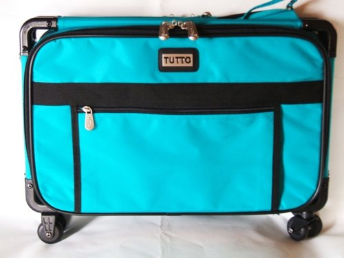 Medium Turquoise Mascot Tutto Sewing Machine on Wheels Case Carrier by Tutto
