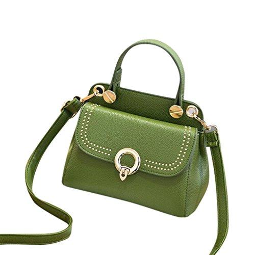 Baymate Mujeres del monedero del bolso de la Vintage del PU cuero Crossbody bolso Messenger Verde