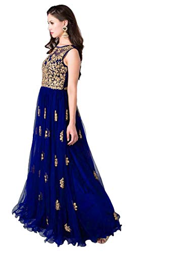 Varudi Fashion Multi Color Heavy Soft Net Fabric Embroidery Work Round Neck Sleevesless Long Semi Sticthed Gown For…